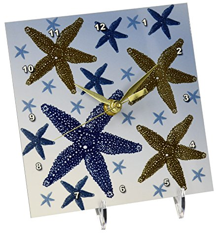 3dRose Blue and Gold Nautical Starfish, Desk Clock, 6 by 6-inch by 3dRose