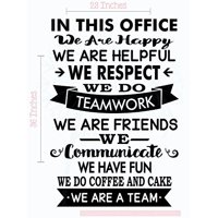 In This Office We are a Team Vinyl Lettering Decals Stickers Art Work Wall Decor Quotes, 36 X 23 , Black