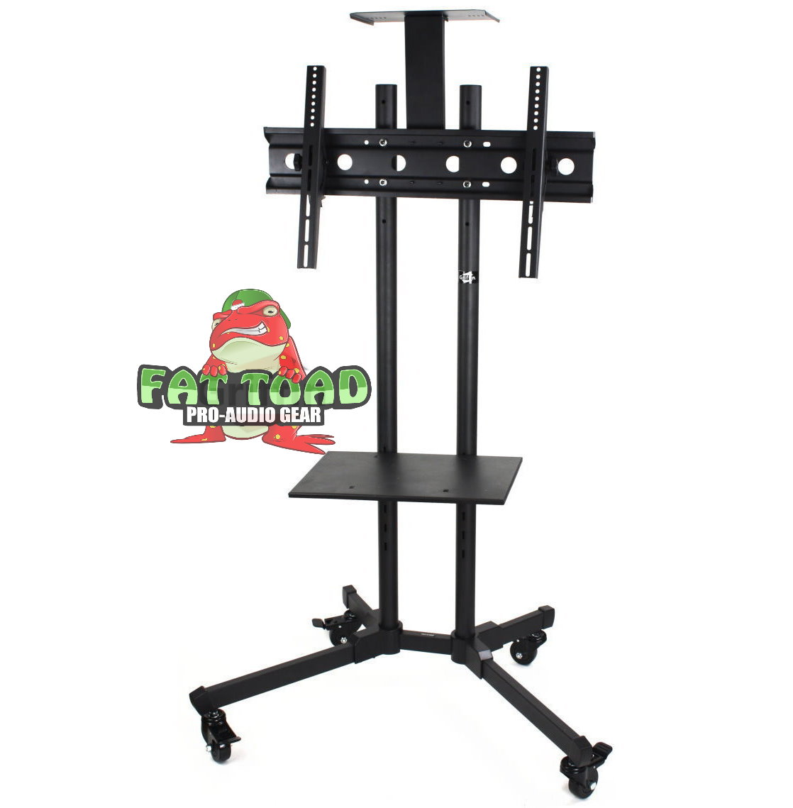 LCD TV Cart by Fat Toad Rolling Flat Panel Screen Stand with DVD Player Shelf Deluxe Mobile Plasma Television/Monitor Console Mount on Wheels & 2 Storage Shelves Suitable for AV, Home, or Business