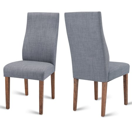 Costway Set of 2 Dining Chairs Fabric Upholstered Armless Accent Home Furniture