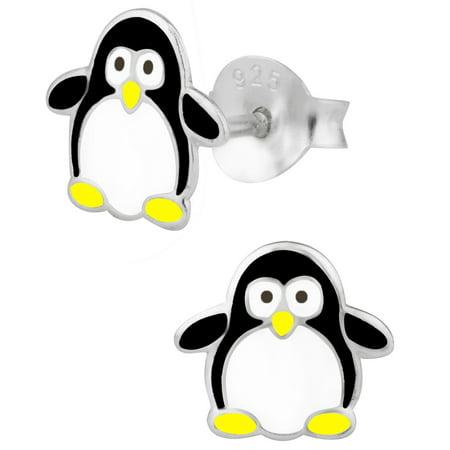 Penguin Set Stud (Hypoallergenic Sterling Silver Baby Penguin Stud Earrings for Kids (Nickel Free))