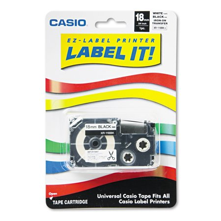 Casio Label Printer Iron-On Transfer Tape, 18mm, Black on White (Casio Easy Label Printer)