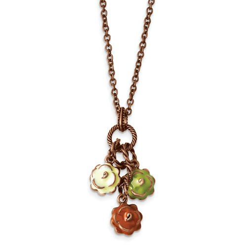 Copper-tone Green, Orange & Ivory Enamel Flowers 16in with Ext Necklace