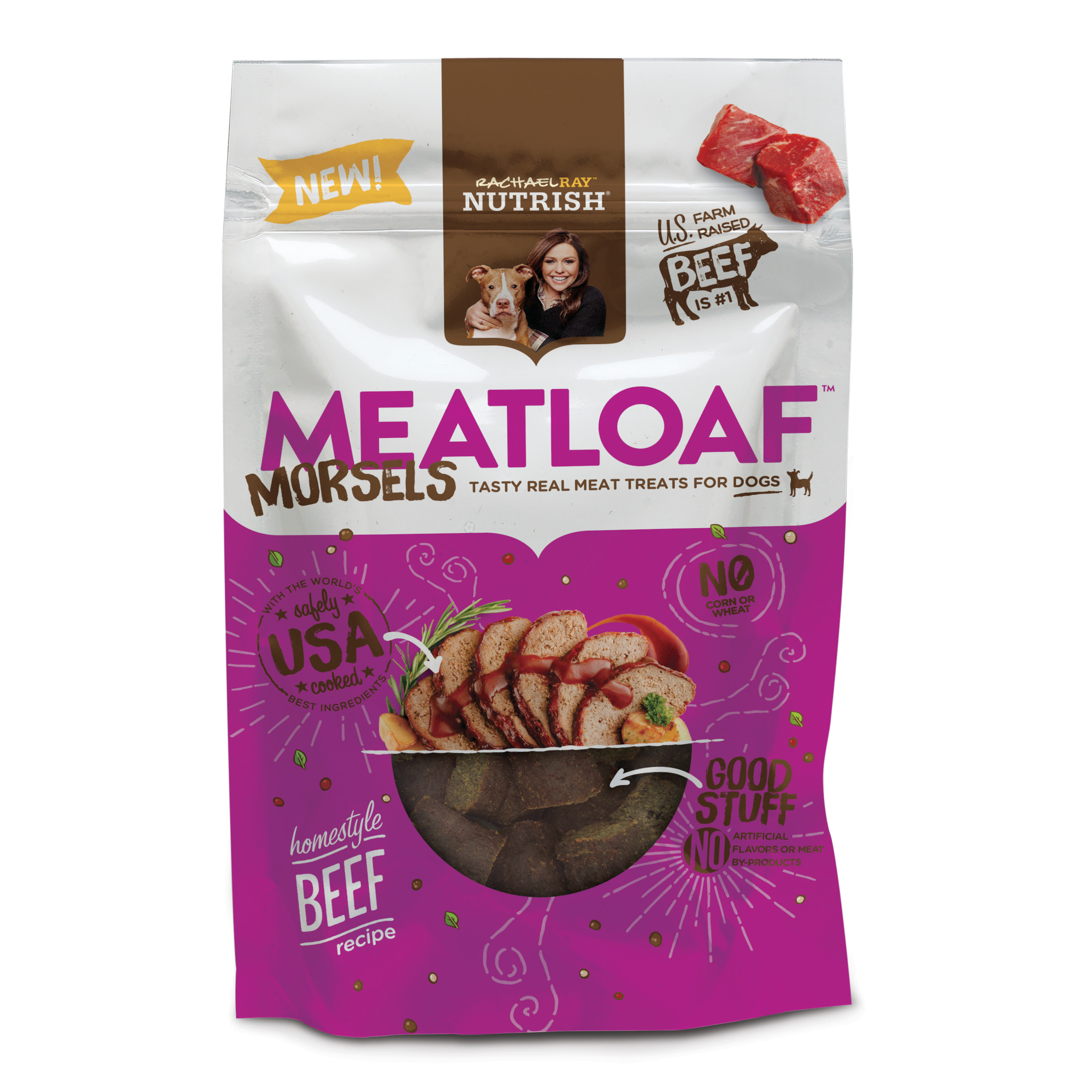 Rachael Ray Nutrish Meatloaf Morsels Dog Treats, Homestyle Beef Recipe, 3 oz by AINSWORTH PET NUTRITION