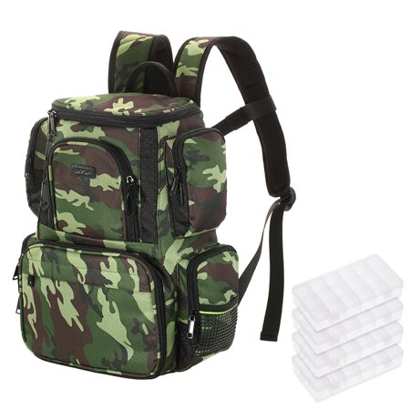 Lixada Fishing Tackle Bag Backpack Fishing Lures Bait Box Storage Bag with 4 Fishing Tackle