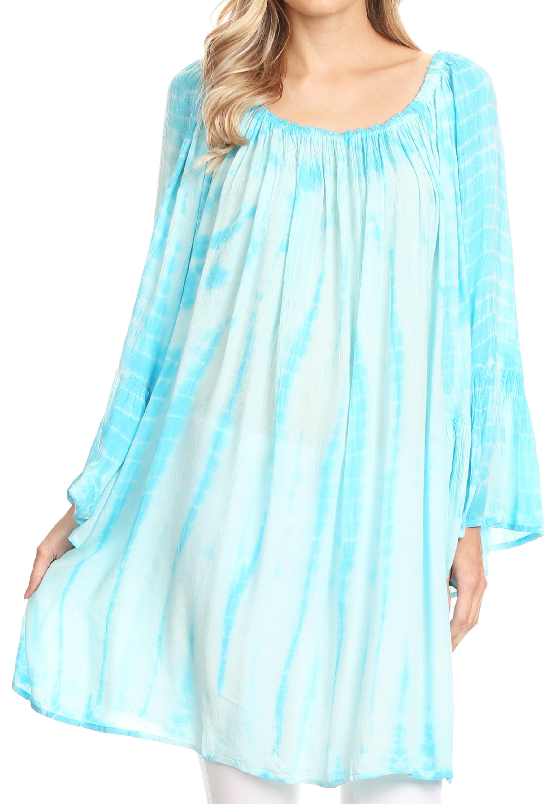 Sakkas Anna Casual Flowy Wide Neck 3//4 Sleeve Light Summer Boho Blouse Top