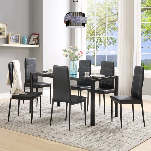 Kitchen Table And 6 Chairs Set Modern Metal Dining Set With 1 Tempered Glass Dining Table