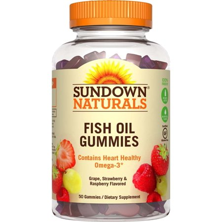 Sundown Naturals Fish Oil Omega-3 Gummies, Grape, Strawberry, & Raspberry, 50