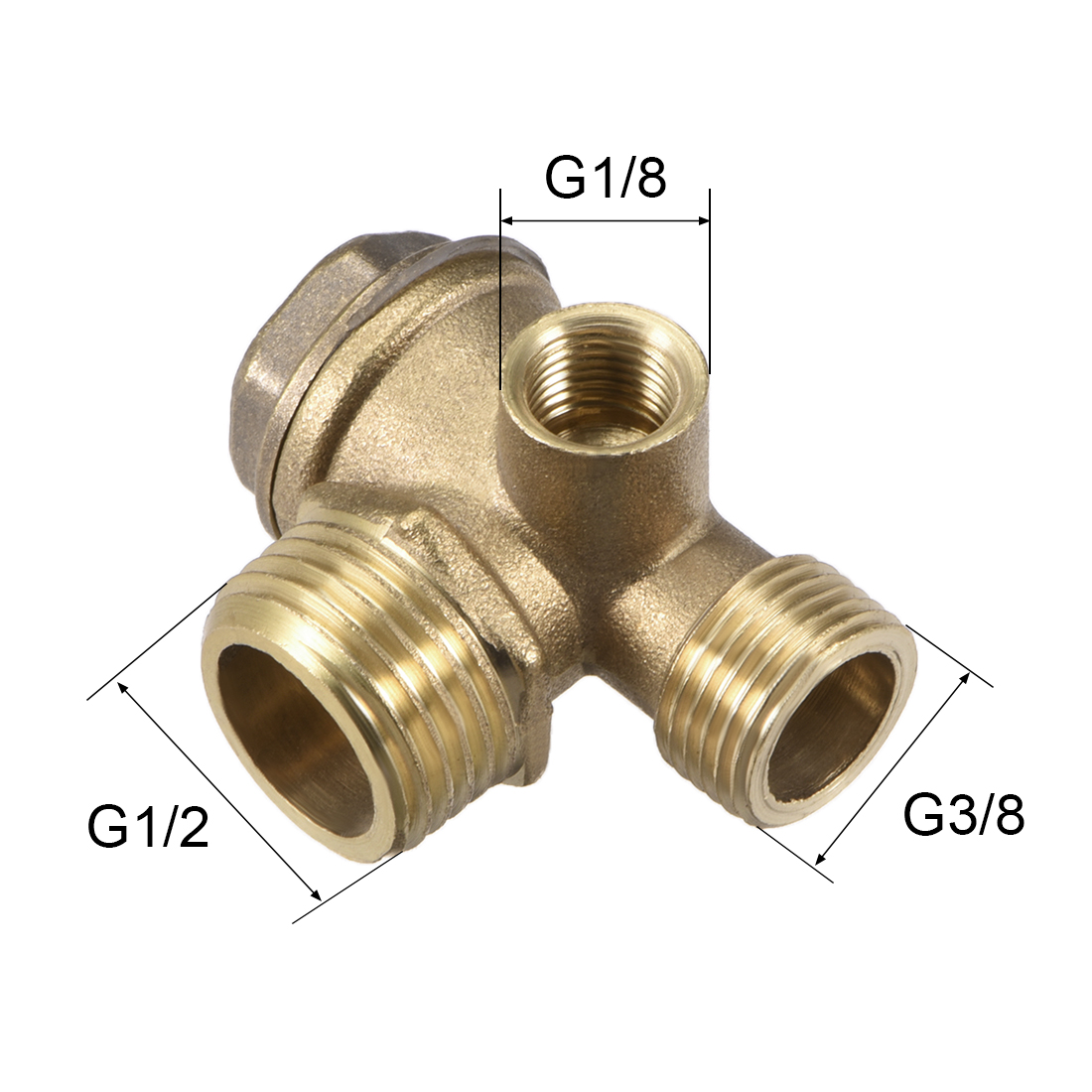 "Air Compressor Check Valve Right Female Threaded Brass 1/8"" x 3/8"" x 1/2"" 3Pcs - image 1 of 3"