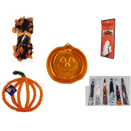 Halloween Fun Gift Bundle [5 Piece] -  Black & Orange Pumpkin Garland 10 ft. -  Resin