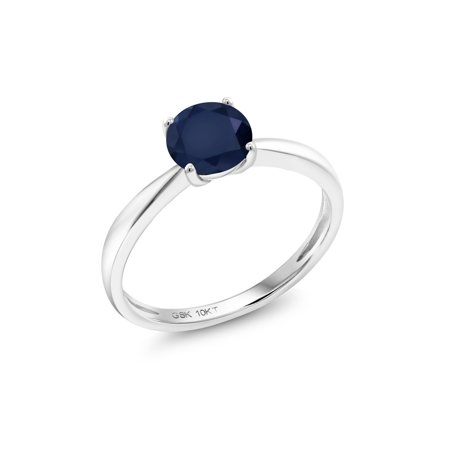 1.00 Ct Round Blue Sapphire 10K White Gold Solitaire Ring