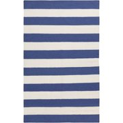 5' x 8' Accumbent Striped Blue and Ivory Reversible Woven Wool Area Throw Rug