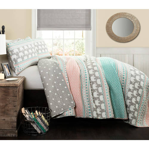 Better Homes and Gardens Kids Elephant Stripe Bedding Quilt Set