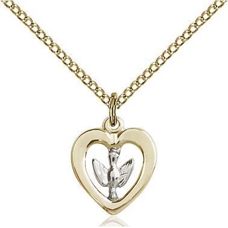 18' Gold Filled Chain - Sterling Silver / Holy Spirit Medal Pendant in Sterling Silver/14 Karat Gold Filled with 18
