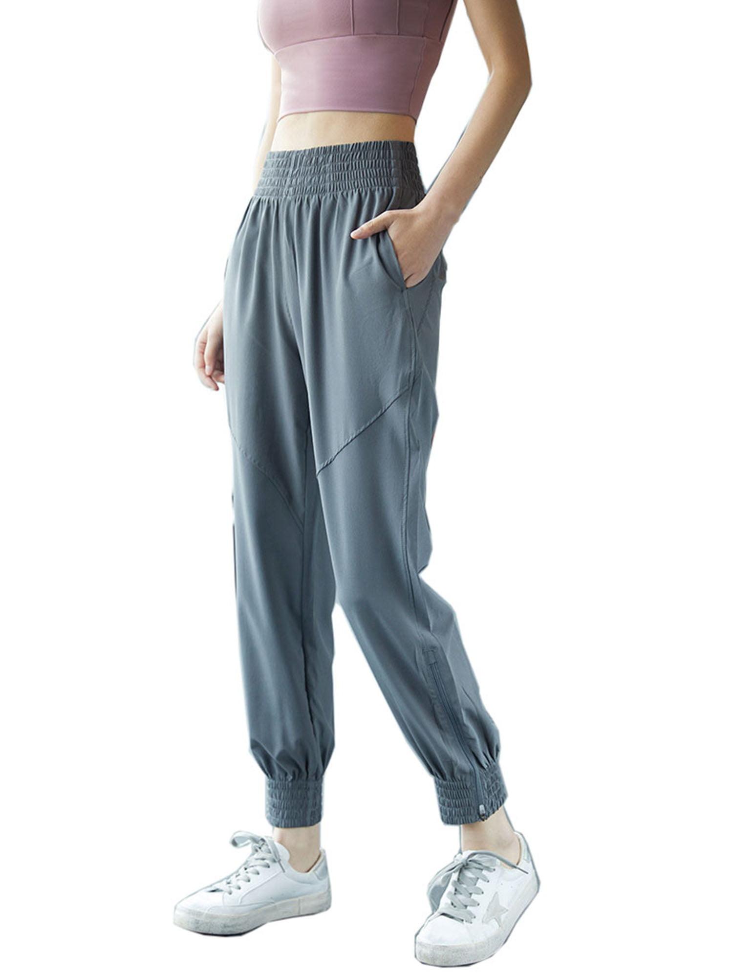 Women Pocket Wide Leg Pants Sweatpants Yoga Jogger Sport Loose Harem Trousers