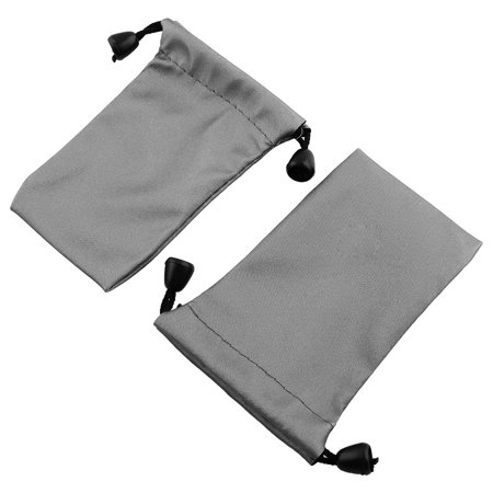 Drawstring Closure Cosmetics Storage Packing Bag Pouch Holder Gray 11 x 7cm 2pcs 11 Pre Cut Pouch