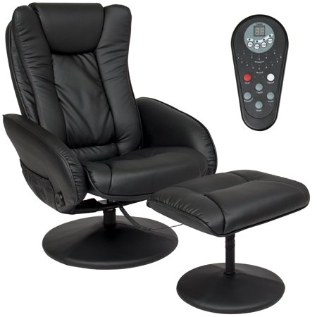 Best Choice Products Faux Leather Electric Massage Recliner Couch Chair w/ Stool Footrest Ottoman, Remote Control, 5 Heat & Massage Modes, Side Pockets - Black ()