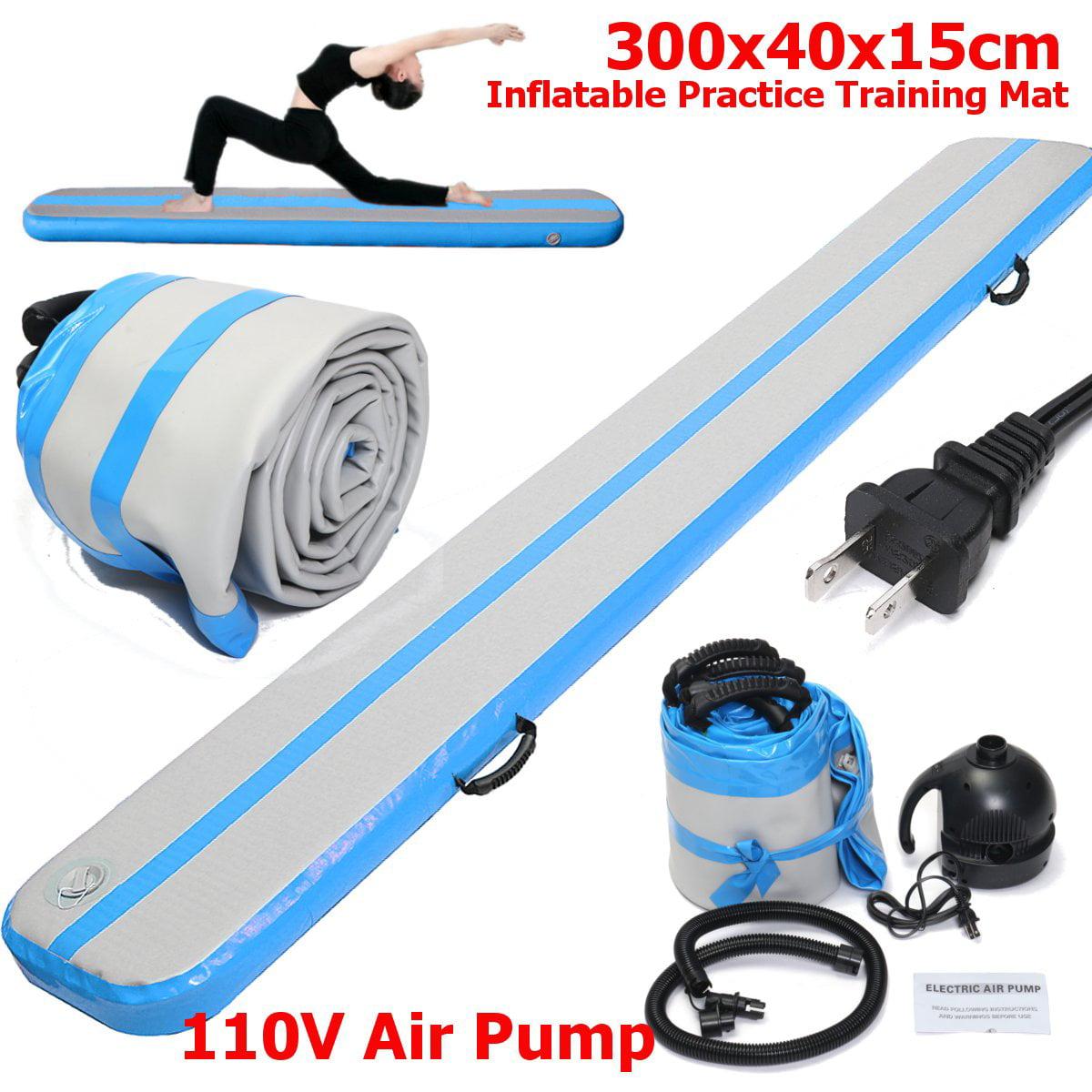 9.8ft x 1.3ft x 0.5ft Blue&Grey Gymnastics Air Balance Beam Inflatable Practice Training GYM Yoga Mat Air Tumbling Floor Home Track+ 110V Pump