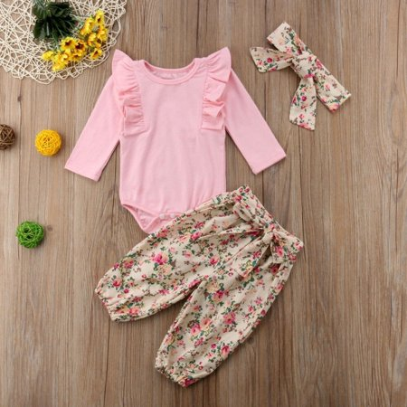 Sweet Newborn Baby Girls Pink Ruffle Long Sleeve Bodysuit Tops Flowers Pants Headband 3Pcs Outfits Clothes 0-18Months Flowers 18 Months