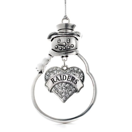 Raiders Pave Heart Snowman Holiday Ornament