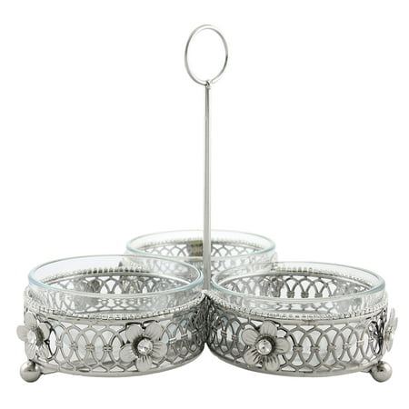 Three Dip Dish Bowls And Metallic Holder Gift Set Crystal Accented