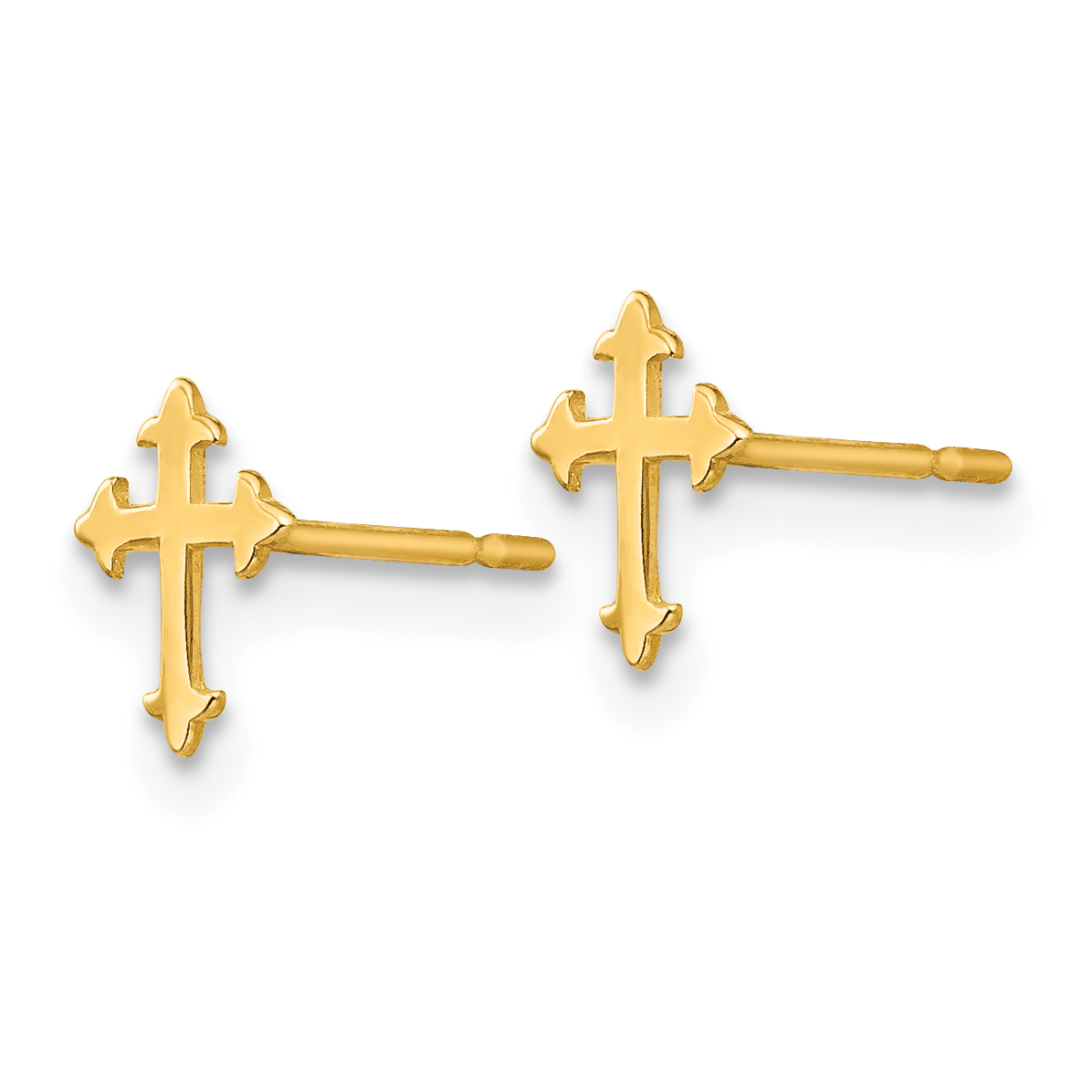 14K Yellow Gold Madi K Children's Cross Post Earrings - image 1 de 2