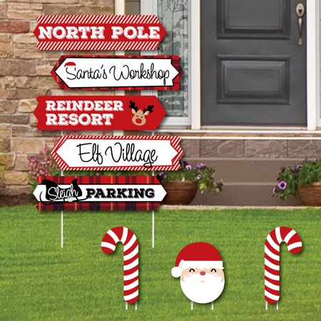 North Pole Street Sign Cutouts - Holiday & Christmas Yard Signs Decorations - Set of 8 - Halloween Cutouts For Yard