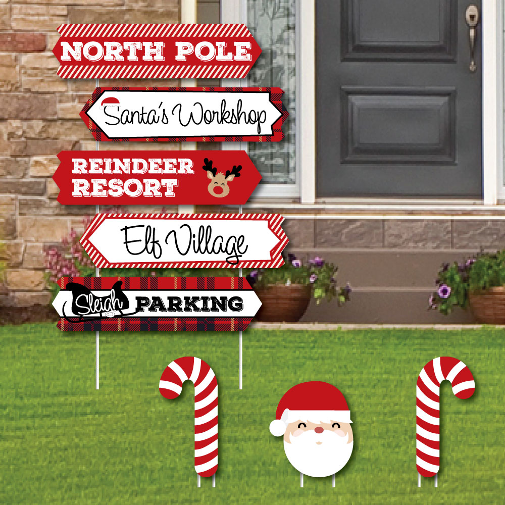 North Pole Street Sign Cutouts - Holiday & Christmas Yard Signs Decorations - Set of 8