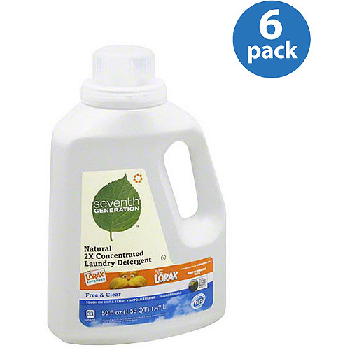 Seventh Generation Free & Clear Natural 2X Concentrated Liquid Laundry Detergent, 50 fl oz, (Pack of 6)