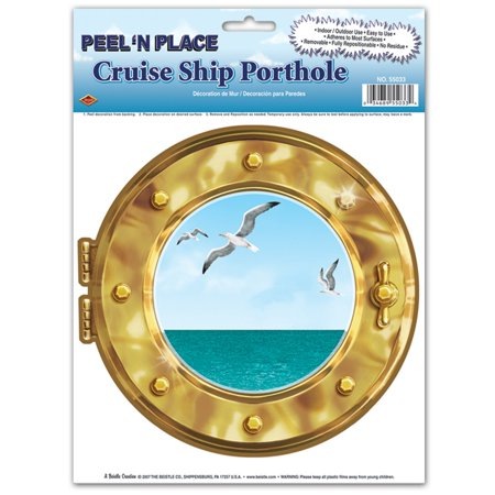 Club Pack of 12 Gold Cruise Ship Porthole Peel 'N Place Decoration 15