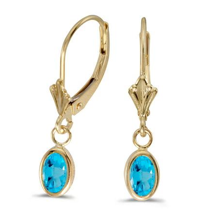 14k Yellow Gold Oval Blue Topaz Bezel Lever-back Earrings