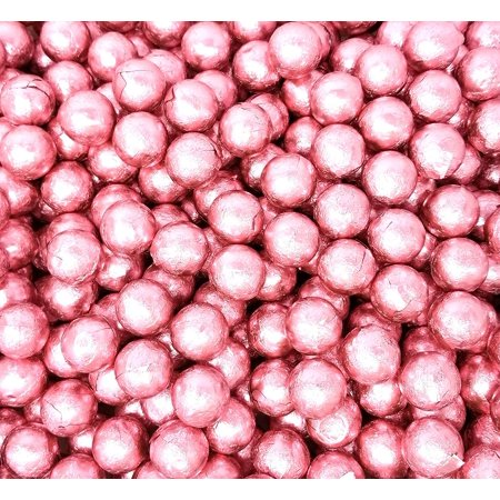 Chocolate Ball Candy (Pink Foiled Milk Chocolate Candy Balls, It's a Girl Party Candy, Bulk 2 Pounds)