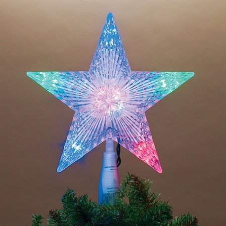 Multicolor 5 Point Star LED Light Up Christmas Tree Topper ...