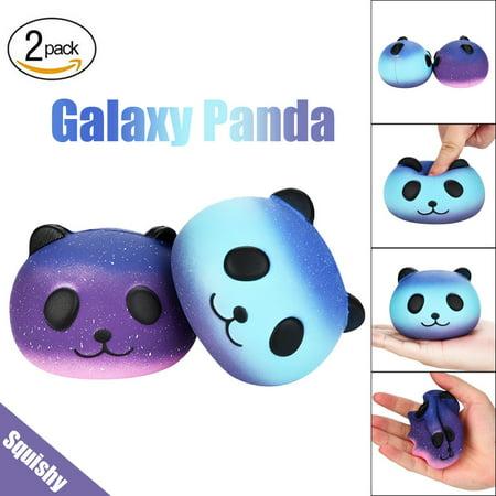 binmer fun 2pcs galaxy panda cute scented squishies slow rising soft