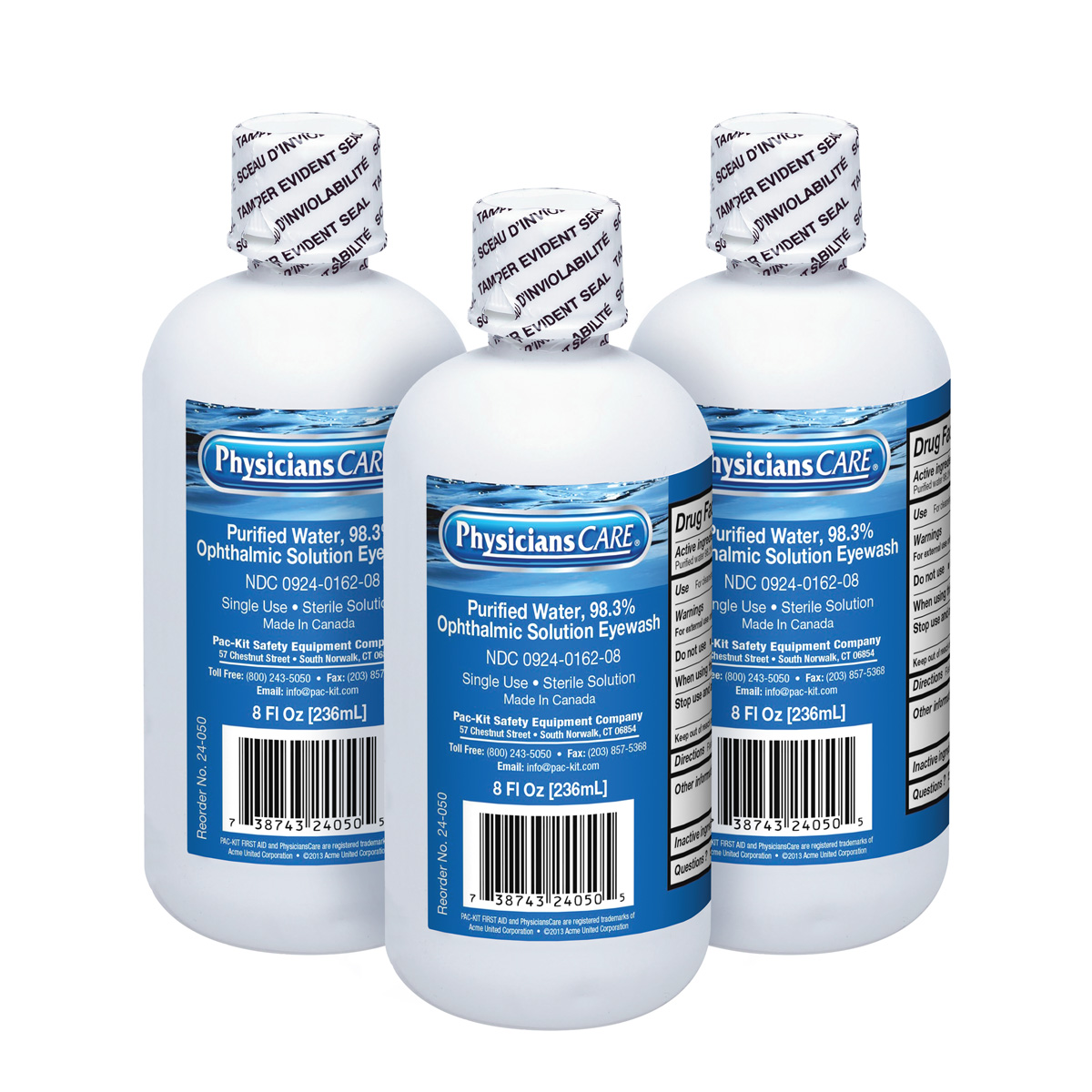 PhysiciansCare Eye Wash Bottle, 8 oz. Screw Cap (3 Count)
