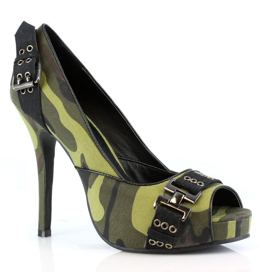 Ellie 423-PFC, 4'' Heel Open Toe Pump Shoes