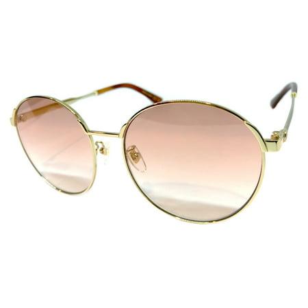 GUCCI GG0206SK 004 Gold Oversized Round Sunglasses