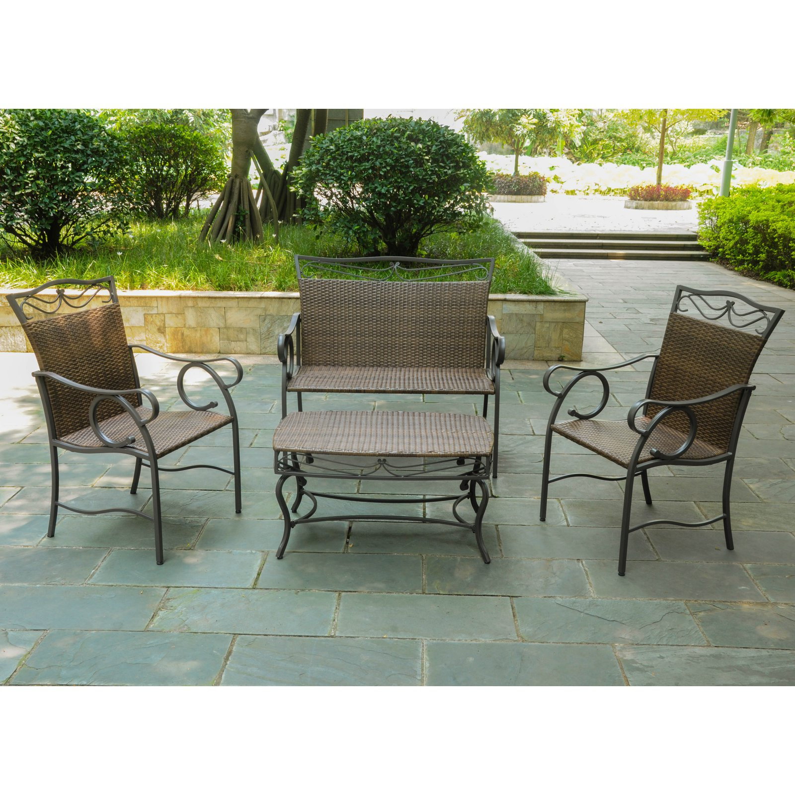 Beau International Caravan Valencia All Weather 4 Pc. Wicker Patio Settee  Conversation Set   Seats
