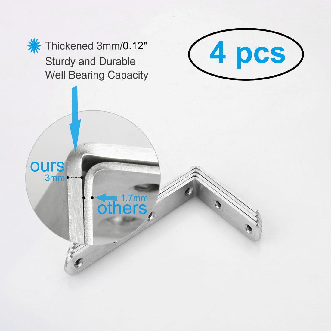 Angle Brackets Stainless Steel Brace Fastener Support w Screws 125 x 75mm, 4pcs - image 6 de 7