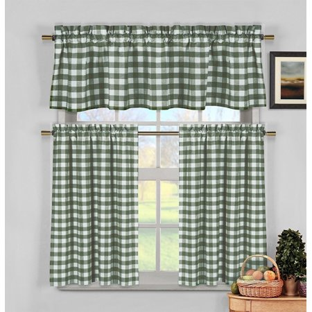 - Green & White Cotton Blend Gingham Tartan Country Plaid Kitchen Curtain Set