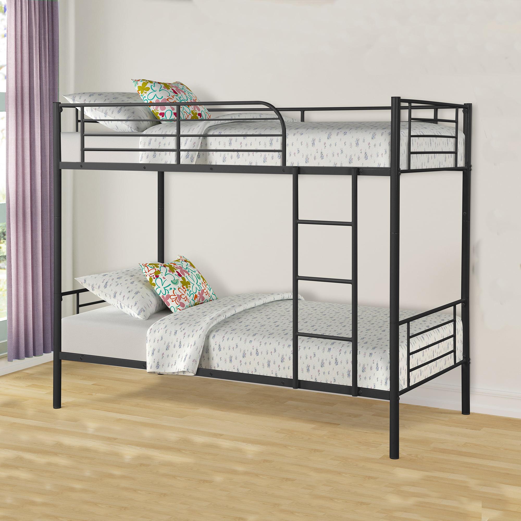 Metal Twin over Twin Bunk Beds Frame Ladder Kids Adult Bedroom Dorm Black NEW