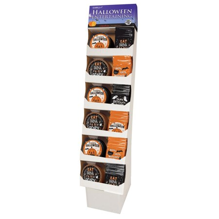 Pack of 90 Black and Orange Halloween Themed Party Floor Display 58