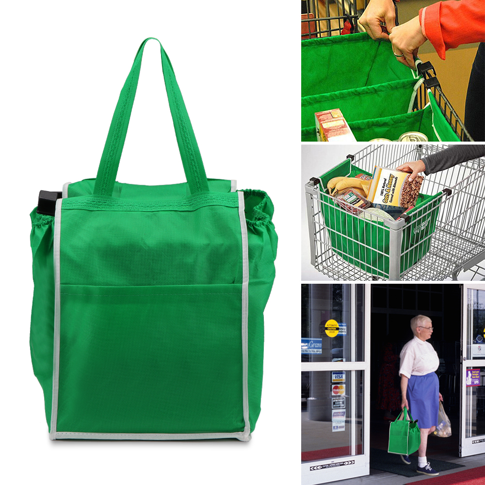 Foldable Cloth Reusable Eco-friendly Shopping Bag Supermarket Trolley Grocery Bag Tote Handbag Reusable Organizer with Clip Bar