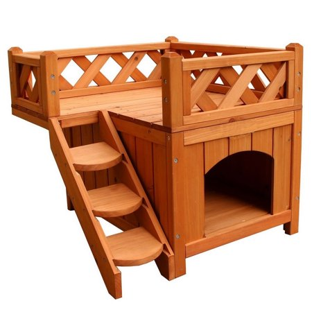 Zimtown Pet Wooden House / Cat House/Condo/Shelter with Balcony 2 Layers Wood (Best Outside Cat House)