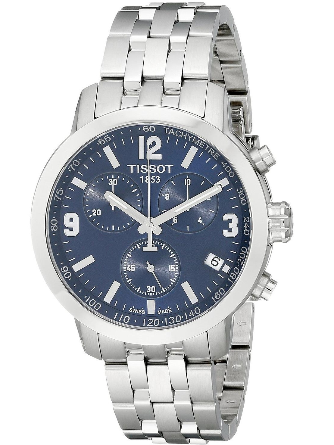Tissot Men's 42mm Steel Bracelet & Case S. Sapphire Quartz Blue Dial Chronograph Watch T0554171104700