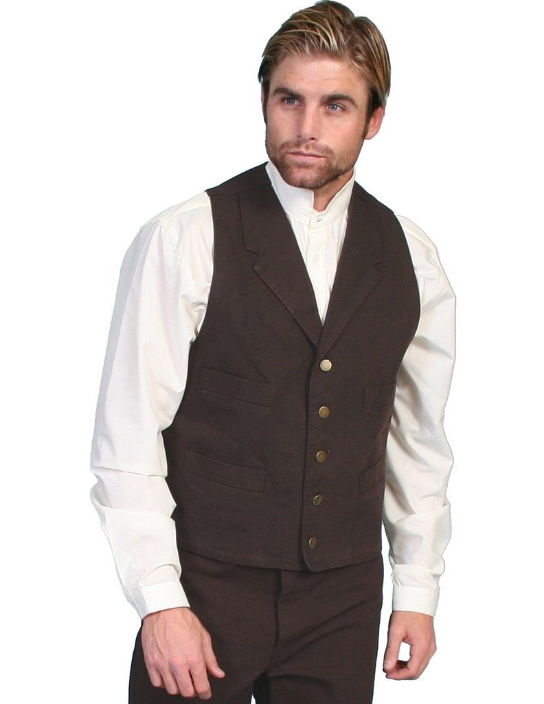Scully Old West Vest Mens Western Lined Button Cotton Canvas RW041