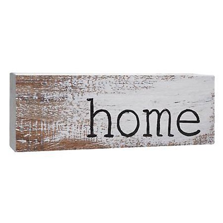 HOME Rustic Primitive Distressed Solid Pine Wood Sign, 10