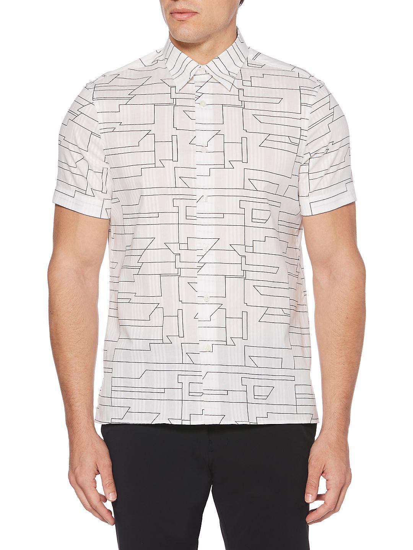 Abstract Linear Short-Sleeve Shirt