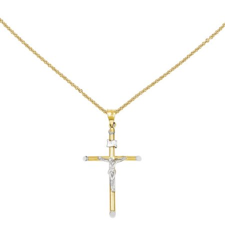 14kt Two-Tone and Rhodium INRI Crucifix Pendant