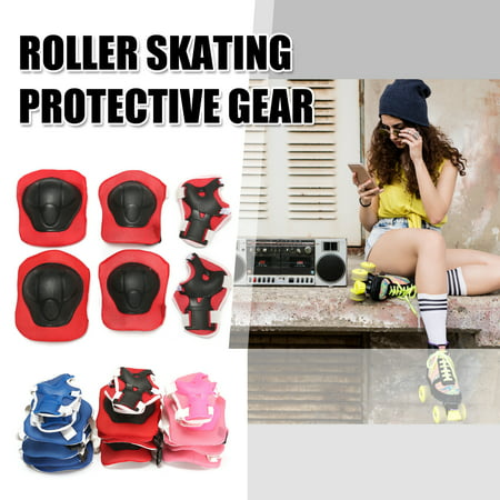 Roller Knee Pads (6 Pieces Kid Adult Unisex Bike Scooter Roller Skating Skateboard Knee Elbow Wrist Pads Kid Birthday Presents )